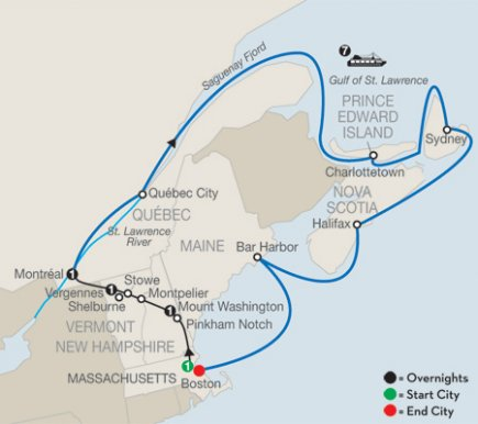 12-Day New England & Eastern Canada Bus Tour