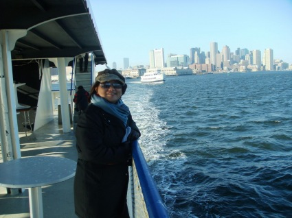 Amazing view of Boston skyline while enjoying the harbor cruise on board M/V Samuel Clemens