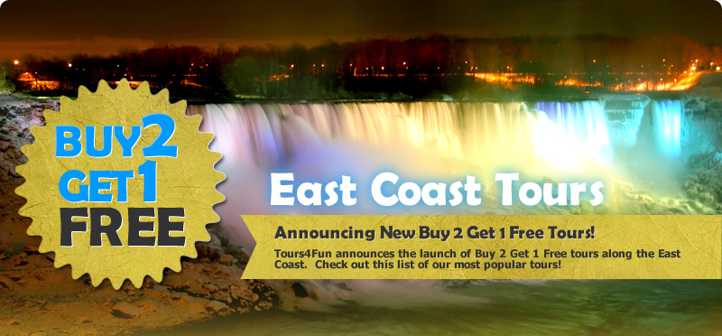 Buy 2 Get 1 Free - East Coast Tours